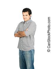 Stern Latino Man Chin Tucked Looking At Camera V - No...