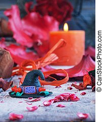 witch hat  with Halloween Pumpkins, red, rustic