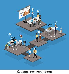 Business infographics isometrics abstract office. Creative...