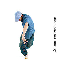 cool hip hop style dancer posing on white backgroun