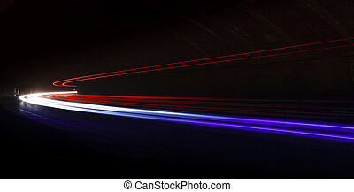 Light tralight trails in tunnel Long exposure photo in a...