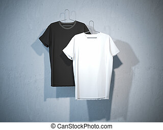 Front sides of two blank t-shirts