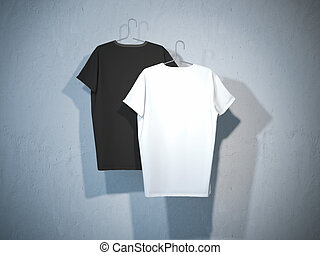 Back sides of two blank t-shirts