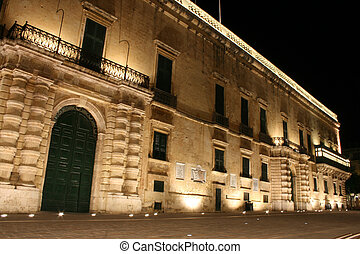 The Palace, Valletta, Malta at night. - The Palace in...