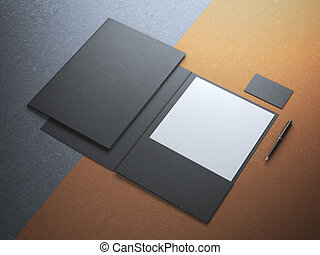 Black folder with white paper sheet on kraft paper