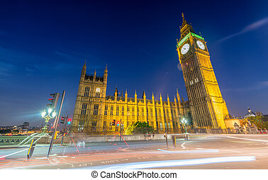 Westminster at night. London city lights