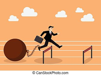 Businessman jumping over hurdle with the weight. Business...