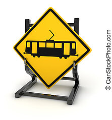 Road sign - train , This is a computer generated and 3d...
