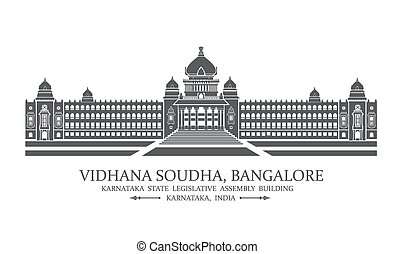 Bangalore Vidhana soudha - Vector illustration of Bangalore...