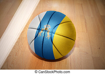 basketball ball with the national flag of canary islands...