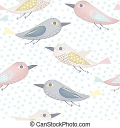 Fantastic birds pattern made in pastel colors