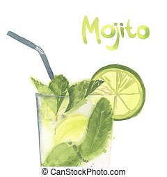 vector illustration of cocktail mojito - Hand drawn vector...
