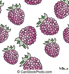 Raspberries pattern - seamless pattern with raspberries with...