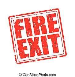 Fire Exit red stamp text