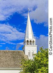 Church Steeple - Details of a church steeple against a...