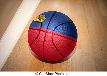 basketball ball with the national flag of liechtenstein...