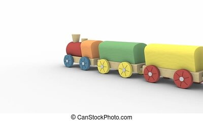 Toy train - Wooden toy train isolated on a white background