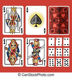 Spade Suit Playing Cards Full Set. Useful As Icon,...