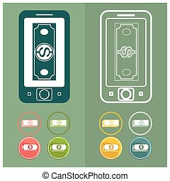 Mobile money online banking concept turnovers vector