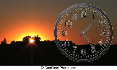 Clock With Sunset Time Lapse 03