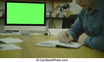 Man Writing Code For Ux on Paper view3 Screen For Mock Up -...