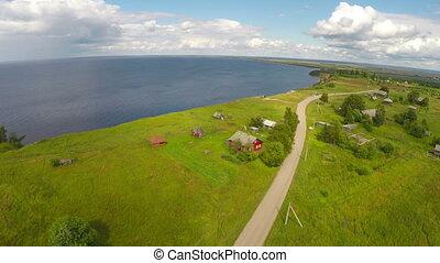 flying over onega lake in Karelia, Russia
