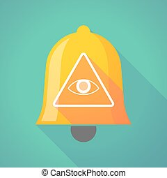 Bell icon with an all seeing eye - Illustration of a long...