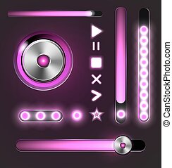 Equalizer and player metal buttons with track bar -...
