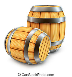 wooden barrel for wine and beer storage isolated - wooden...