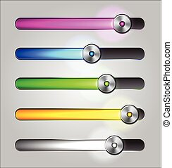 Equalizer glossy glowing track bar Vector media player...