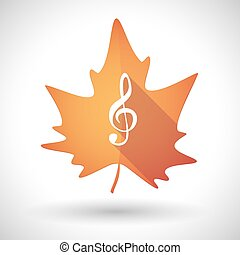 Autumn leaf icon with a g clef - Illustration of an isolated...