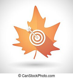 Autumn leaf icon with a dart board - Illustration of an...