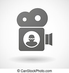 Cinema camera icon with a thief