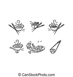 Icons with Japanese cuisine