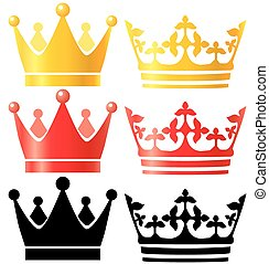 Crowns collection. - Glossy isolated objects set. Eps 10...