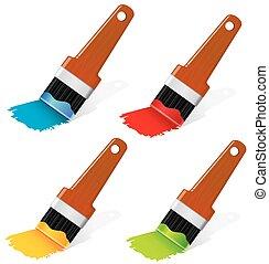 Paint brushes. - Isolated on white objects set. Eps 10...
