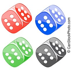 Lucky dices many color vector set - Lucky dices casino...