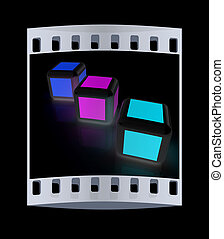 Abstract colorfull blocks 3d The film strip