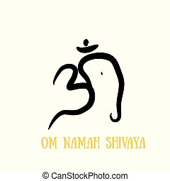 Sign vector Hindu Om Icon in Tamil - Om with elephant head...
