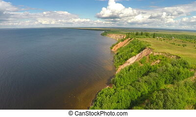 flying over onega lake in Karelia, Russia