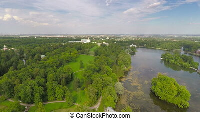 Flying over Catherine park and Palace, Tsarskoe Selo...