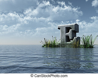 letter E monument in water landscape - 3d illustration