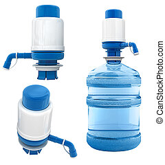 bottle with water pump - bottle of water with water pump...