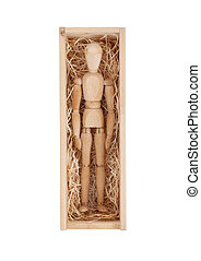 Wood figure mannequin in a wooden box