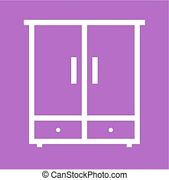 Cupboard - Shelf, cabinet, cupboard icon vector image.Can...