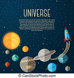 Universe banner with solar system, stars and space rocket....