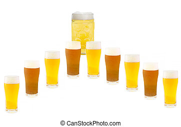 Several beer glasses in a row Light and dark beer In the...