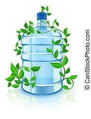big bottle with clean blue water drink and green foliage -...