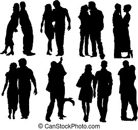 Happy couple - Set of happy couple silhouettes. Vector...