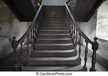 Stairway interior in old living house,